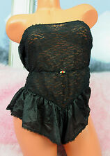 VTG Spotlight Black Wide Stretch Lace Strapless Sissy Teddy Romper Slip sz M