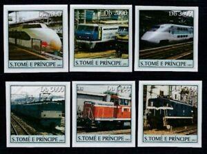 SÃO TOME & PRINCIPE Trains & Locomotives MNH imperforate set
