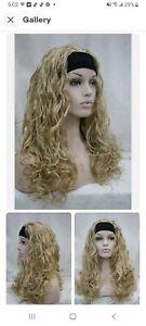 Premium Quality Natural Long Blonde Wavy Curly 3/4 Wig Black Headband Wigs