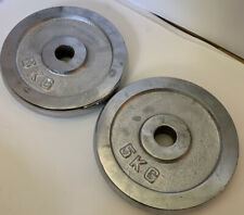 "(2pk) 5KG 1"" Standard Stainless Steel DISK CHROME Weight Plates Plate Barbell"