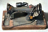 Vintage Antique Old Singer Sewing Machine AF783219 Matte Black Parts Restoration