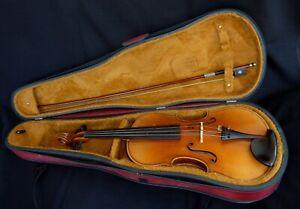 alte 4/4 Geige Violine Zettel mit Bogen und Koffer