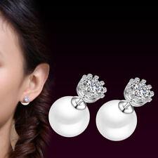 925 Sterling Silver Crown CZ Pearl Stud Earrings For Women Charm Jewelery