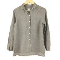 J. Jill Love Linen Essential Shirt Women S Brown Long Sleeve Casual
