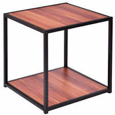 20'' Metal Square Side/End Table Sofa Coffee Tea Stand Bottom W/2 Tier Shelf