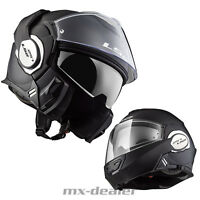 LS2 FF 399 Valiant casco plegable GS para motocicleta MONO Mate Negro de viaje
