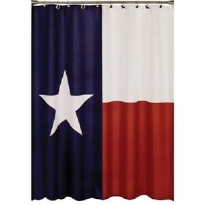 "Fabric Shower Curtain, Texas Flag, Waterproof and Mildew Resistant,71"" x 71"