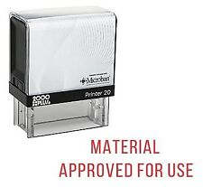 MATERIAL APPROVED FOR USE Office Self Inking Rubber Stamp - Red Ink (E-5559)