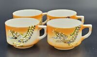 Set of 4 Vintage Mini Orange Dragonware Moriage Cups, Occupied Japan