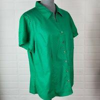 Lane Bryant Womens V-Neck Blouse Size 18/20 Green Button Down Short Sleeve Shirt