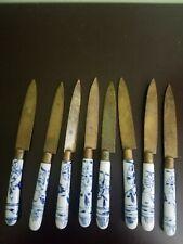 "8 Antique Meissen Blue Onion Porcelain Uchatius Bronce Germany 6"" BRONZE KNIVES"