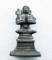 Bronze-Figur Miniatur Indien 18. Jahrhundert Betender mit Axt, Sammlungsbestand