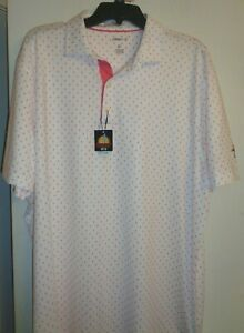 Johnnie-O Prep-formance Golf/casual polo EXTRA LARGE white/pink NWT UPF 50