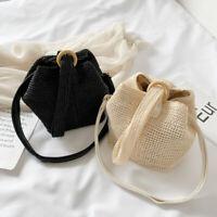 Lady Rattan Straw Handbag Beach Bag Tote Retro Ethnic Woven Shoulder Bag Fashion