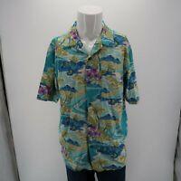 Island Republic Blue Green 100% Silk Tropical Island Hawaiian Shirt Mens Large