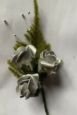 New Silver Roses Artificial Wedding Buttonhole Mother, Groom Best man All Guests