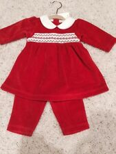 NEW Kissy Kissy Newborn Smocked Christmas Velour Playsuit Outfit Collared
