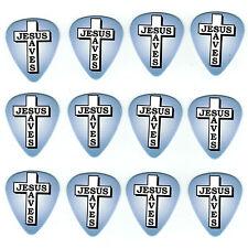 12 Pack FAITH JESUS SAVES Cross Religious Christian Medium Gauge Guitar Picks