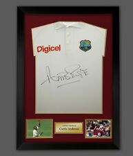 More details for  curtly ambrose hand signed cricket west indies shirt in a frame presentation :c