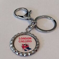 British Inspired London Calling Top Key Ring, Key Chain with Union Jack, Handmad