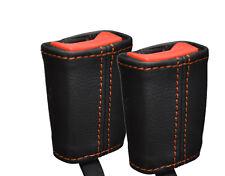 Cuciture color arancio 2x ANTERIORE Cintura Di Sicurezza Pelle Copertine si adatta LAND ROVER FREELANDER 2 06-14