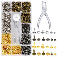 360 Sets Metal Double Cap Rapid Rivets Stud Leather Belt Fixing Tools Plier