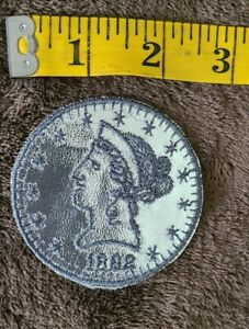 Vintage 1882 Liberty Head Replica Coin Sew-on Embroidered Patch - New