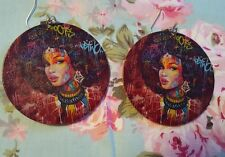 Magenta Graffiti Afro Queen wood double sided Hoop Ethnic urban Earrings jewerly