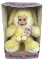 BUNNY BABY DOLL- PORCELAIN COLLECTIBLE EASTER RABBIT PLUSH BLUE EYE BABY DOLL