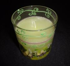 Tracy Porter Votive Candle With Hand Painted Purple Violets Flowers