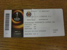 28/04/2016 Ticket: Villarreal CF v Liverpool [UEFA Europa League] (complete, lig