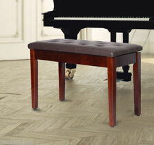 HOMCO Faux Leather Piano Bench Wood Double Duet Keyboard Padded Storage Seat BW