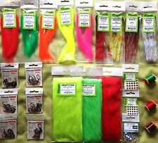 BASS, PIKE and BIG PERCH FLY TYING KIT materials hooks flash eyes and threads