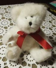 "Retired Boyds Plush ♡ 8.5"" Jointed White Bear Wearing A Red Ribbon ♡"