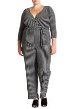 a78850f53d0c Planet Gold Derek Heart Striped Tie Waist Jumpsuit Black Beauty 2X
