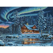 """Gold Collection Aurora Cabin Counted Cross Stitch Kit-16""""X12"""" 16 Count"""