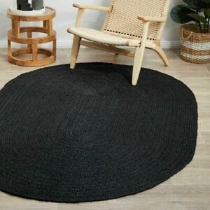Rugs Black Oval Shaped Handmade Floor Decorative Oriental Vintage Reversible