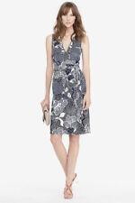 Diane Von Furstenberg Mellany Print Navy White Silk Jersey Wrap Dress 12