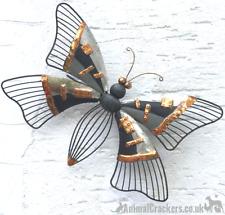 38cm Grey /Bronze metal BUTTERFLY wall art garden ornament sculpture decoration