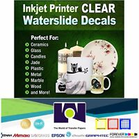 """Waterslide Decal CLEAR Paper For Ink Jet Printing 10 sheets,  8.5"""" x 11"""" :)"""
