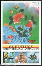 Bhutan 1996 Compatible Lunar Animals Signs Rat Year Monkey Dragaon FlowerM/s Mnh