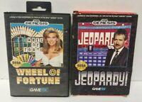Jeopardy! + Wheel of Fortune - Sega Genesis Games - Working - 2 Game Lot  !