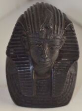 Vintage Egypt Figure King Tut Egyptian  Resin Black Carved Signed