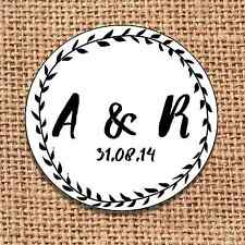 Wedding favour stickers save the date personalised  120 monochrome