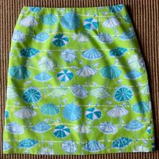 Lilly Pulitzer  Green umbrella Tropical Print Pencil Skirt Sz 2