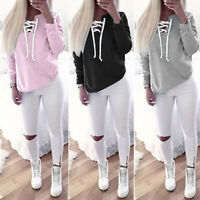 Women Lace Up V Neck Long Sleeve Casual Loose Pullover Hoodie Sweatshirt T-Shirt