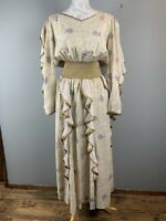 vtg 80s JEANNE MARC gold paisley ruffled fantasy maxi dress Perfect size 12