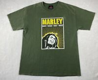 Zion Roots Wear Bob Marley Reggae Rebel Music Men's Green T Shirt size Large