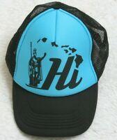 Hawaiian Headwear Baseball Style Hat Polyester Adult Snapback Black & Blue Mens