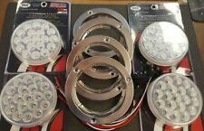 """(4) 19 LED Trux Dual Revolution 4"""" Round Clear Lens Stop Tail Back-Up Flange Kit"""